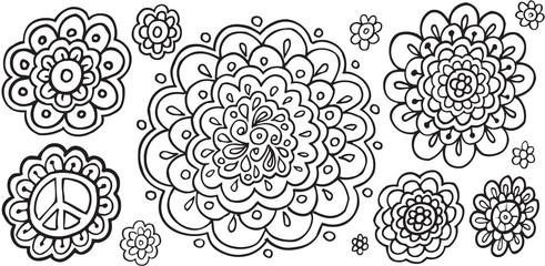Doodle Flowers Vector Illustration Art