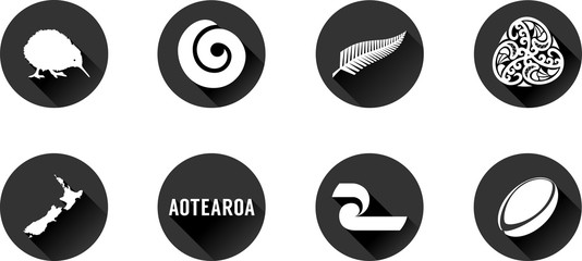 Aotearoa Flat Icon Set. Vector graphic icons representing Aotearoa, the Maori name of New Zealand.