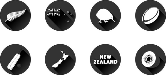 New Zealand Flat Icon Set. Vector graphic icons representing New Zealand.