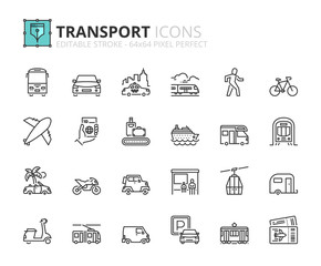 Outline icons about transport