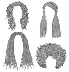 set of  different dreadlocks cornrows  round curly hairs .