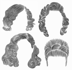 set woman  hairs  . black  pencil drawing sketch .