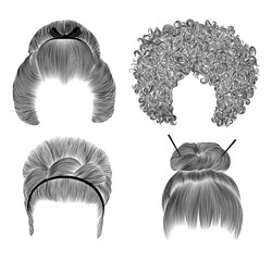 set of  different funny women hairs . fringe  pencil drawing sketch .japanese hairstile bun  with barrette .  national  fashion beauty  style . african