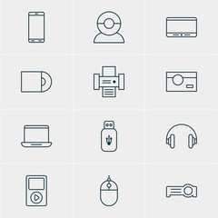 Vector Illustration Of 12 Hardware Icons. Editable Pack Of Photocopier, Cursor Controller, Photography And Other Elements.