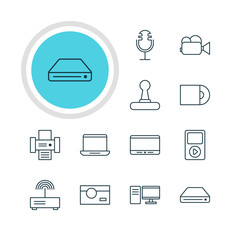 Vector Illustration Of 12 Device Icons. Editable Pack Of Modem, Photocopier, Computer And Other Elements.