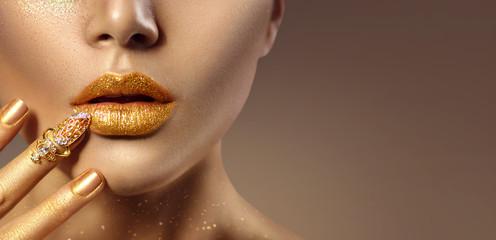 Fashion art golden skin woman face portrait closeup