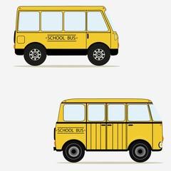 Cartoon yellow school buses