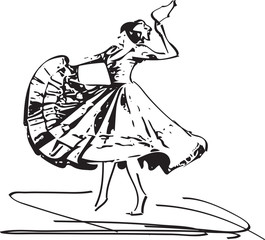 Illustration of woman dancing marinera