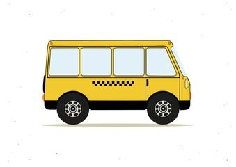 Cartoon yellow taxi bus
