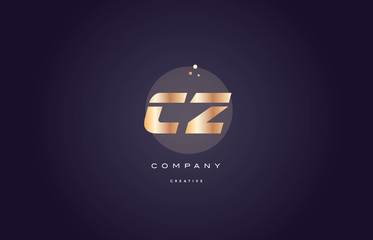 Fototapeta cz c z  gold metal purple alphabet letter logo icon template obraz