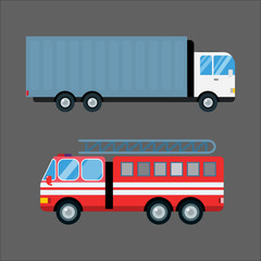 Fire truck car vector illustration isolated cartoon silhouette fast emergency transport vehicle transportation alarm cargo truck van logistic shipment