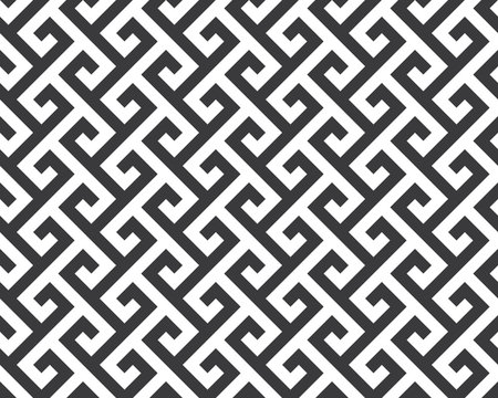 Seamless black and white diagonal vintage ancient tribal geo op art mod pattern vector