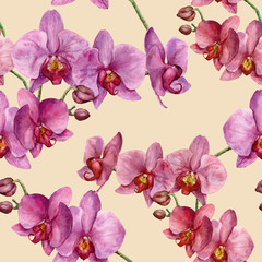 Watercolor pattern with orchids. Hand painted floral botanical ornament. For design, fabric or print.