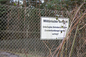 German Sign at Military Fence Area
