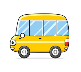 Yellow bus isolated.