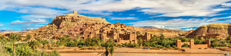 Foto auf Leinwand Marokko Panoramic view of Ait Benhaddou, a UNESCO world heritage site in Morocco