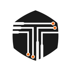 letter t and circuit logo vector