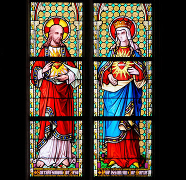 Stained Glass - Sacred Heart of Jesus and Most Pure Heart of Mary