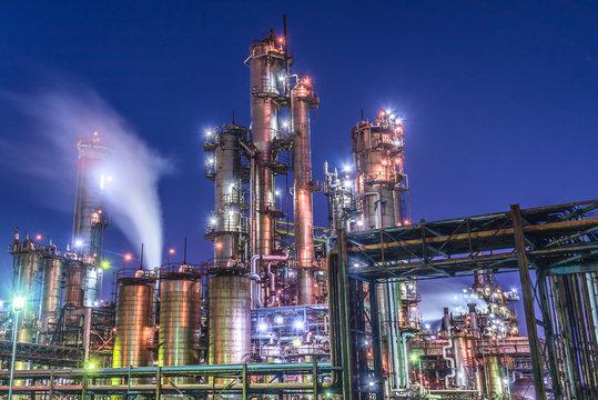 Beautiful factory night view in Japan