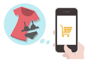 Illustration : Buy clothes in the online shop