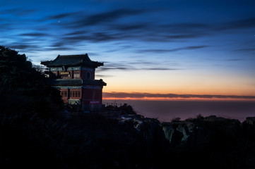Temple and sunset on the summit of Taishan, China