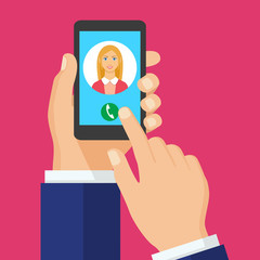 Incoming call on smartphone screen. Vector concept call to woman.