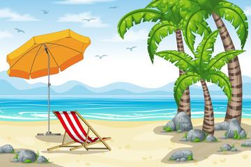 Illustration of a tropical coastal landscape