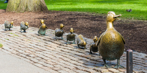 Boston Public Garden with its famous duck family brass statues