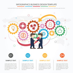 Business partnership infographics with idea presentation cooperation profit symbols and world map illustration