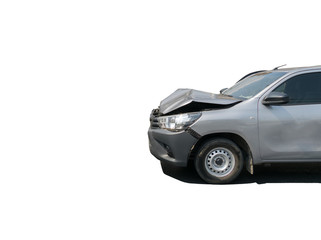 Car crash from car accident on the road in a city car pickup wait insurance White background of clipping path and selection path