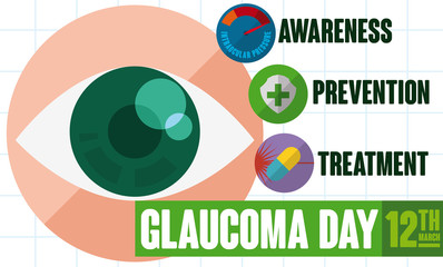 Design with Some Useful Advice to Commemorate World Glaucoma Day, Vector Illustration