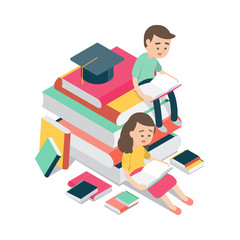 boy and girl sitting and reading on books, education design concept, Vector illustration.