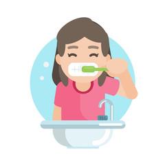 Happy cute girl brushing teeth in bathroom, Vector character illustration.