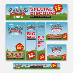 Set of Easter Sale Special Discount Web Banner. Season Greeting Background Template. Vector illustration
