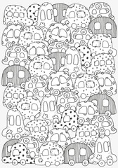 Pattern for coloring book with doodle style