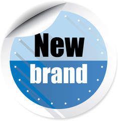 New brand blue colorful label, sticker, sign, icon and stamp with crown on white background.