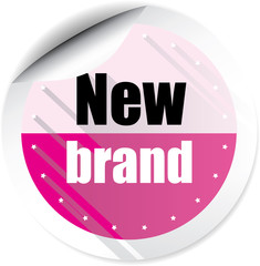 New brand pink colorful label, sticker, sign, icon and stamp with crown on white background.