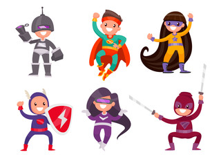 Set of children dressed in superhero costumes on a white background. Vector illustration in a flat style