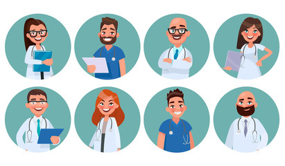 Set of doctors. Hospital staff. Avatars of medical workers. Vector illustration