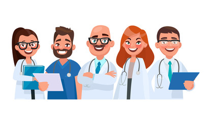 Team of doctors on isolated background. Medical workers. Vector illustration