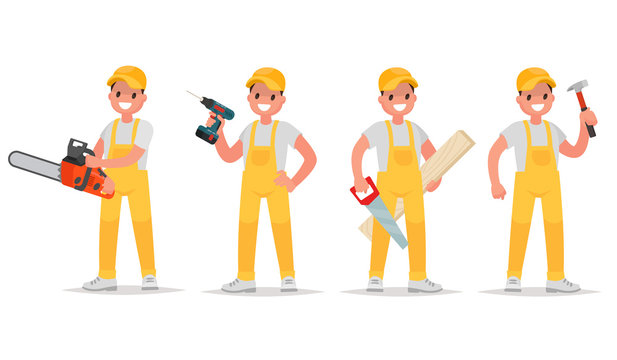 Set of worker with various tools. Man with a chainsaw, screw gun, saw and a hammer