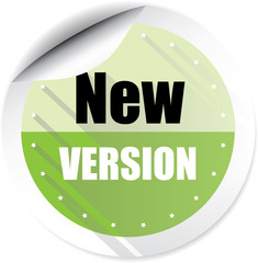 New version green colorful label, sticker, sign, icon and stamp with crown on white background.