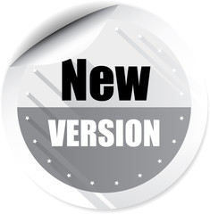 New version gray colorful label, sticker, sign, icon and stamp with crown on white background.