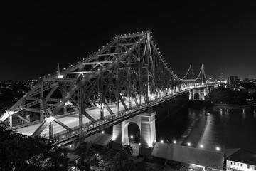 BRISBANE, AUSTRALIA: Story Bridge by Night - Black & White