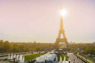 The Eiffel tower is one of the most recognizable landmarks in the world under sun light, Paris,France.vintage color