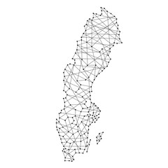 Map of Sweden from polygonal black lines and dots of vector illustration