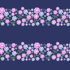 Flower pattern in small flowers on a blue background. Calico Millers.Floral seamless background for textile, surface, fabric, wallpaper, print, gift wrapping and scrapbooking, decoupage