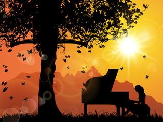 A Pianist, Tree, Sunset