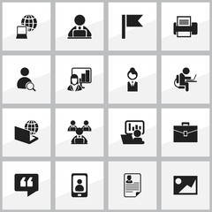 Set Of 16 Editable Office Icons. Includes Symbols Such As Worker With Laptop, Telephone, Portfolio And More. Can Be Used For Web, Mobile, UI And Infographic Design.