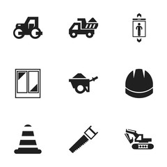 Set Of 9 Editable Structure Icons. Includes Symbols Such As Hacksaw, Caterpillar, Camion And More. Can Be Used For Web, Mobile, UI And Infographic Design.